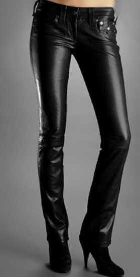 Женские кожаные брюки с заниженной талией