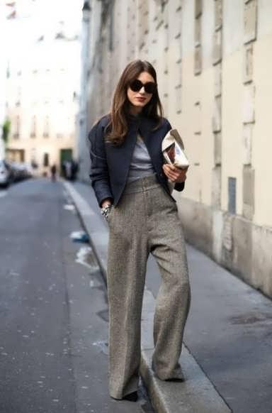 Женские брюки из шерстяного твида фото