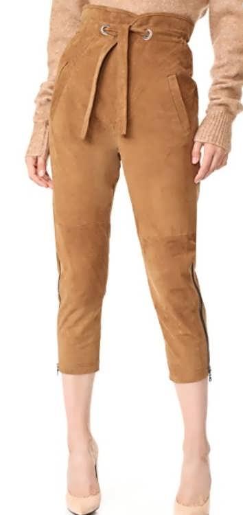 Женские брюки из замши фото